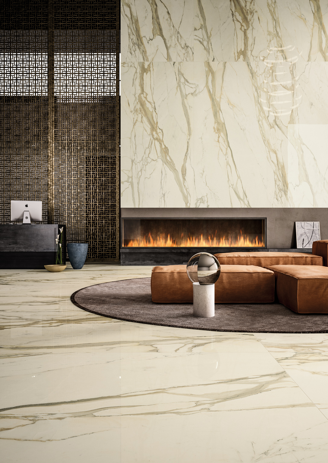 Oro Calacatta Polished Porcelain Tile From Our Depth 6mm