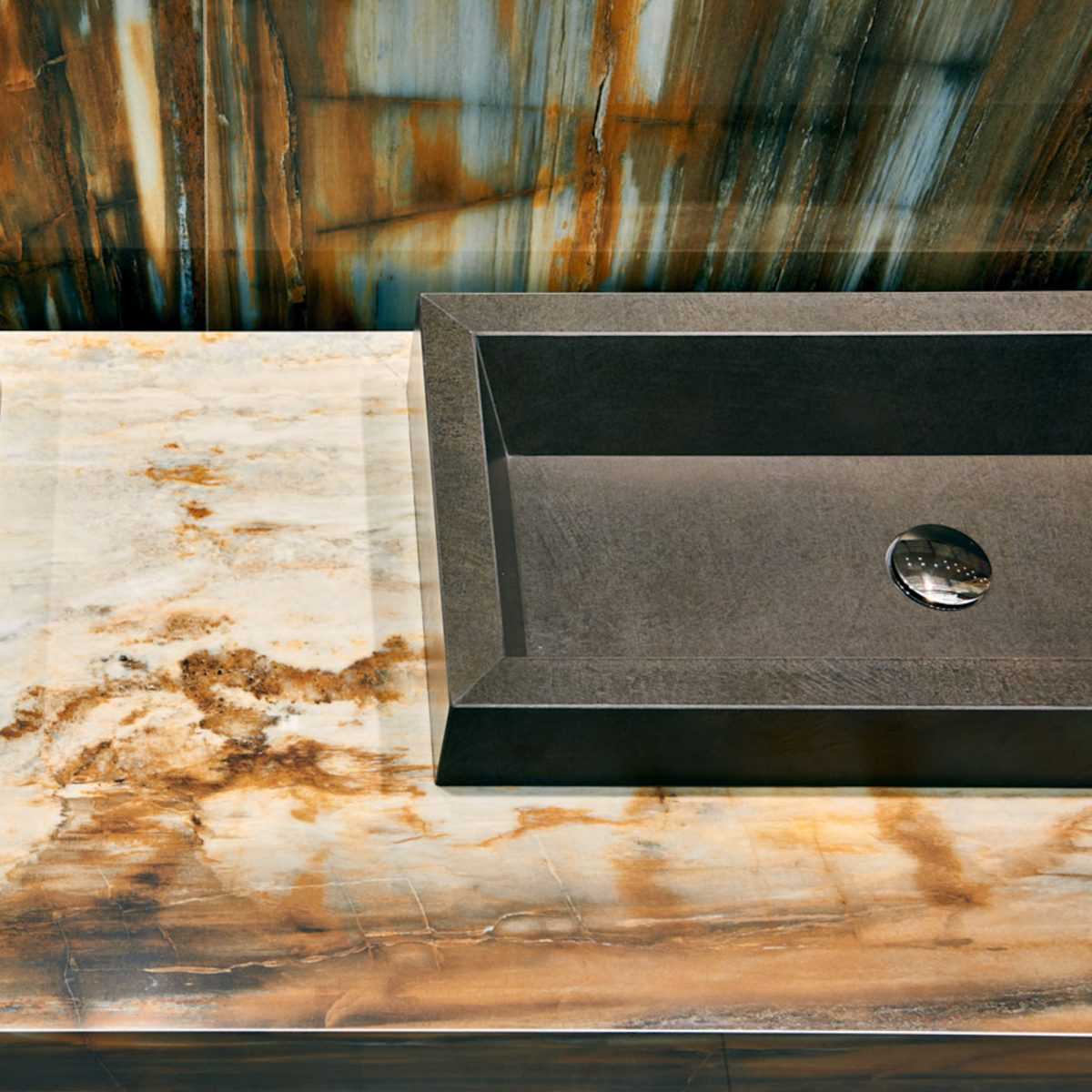 Saturn basin in Royal Stone – Elegant Marrone & Resin Sense – Marrone