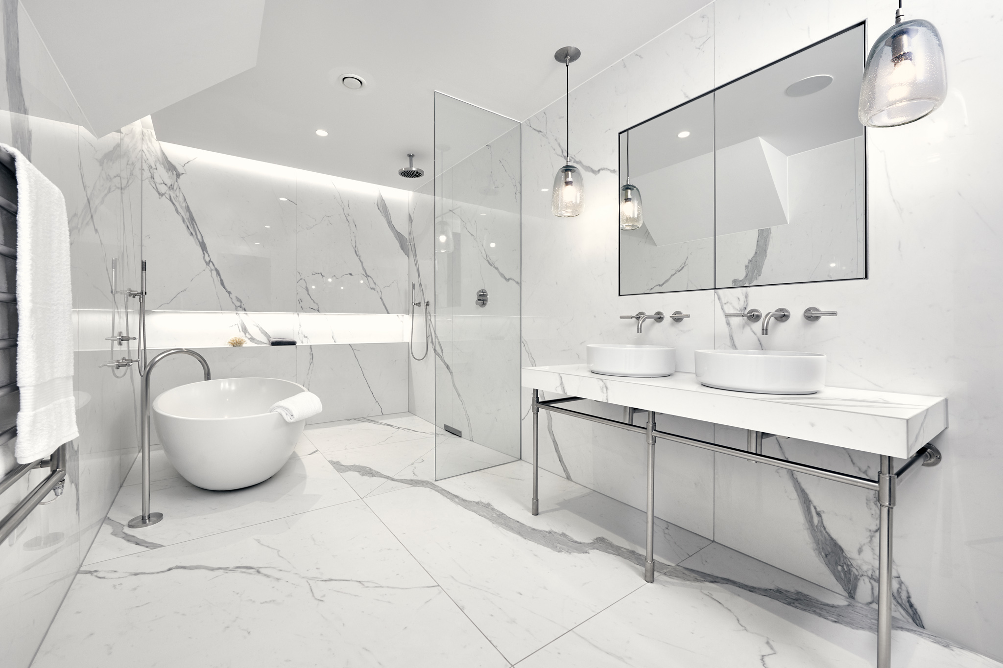 Statuario White Marble Wall Cladding : Introducing polished white marble a new suggested