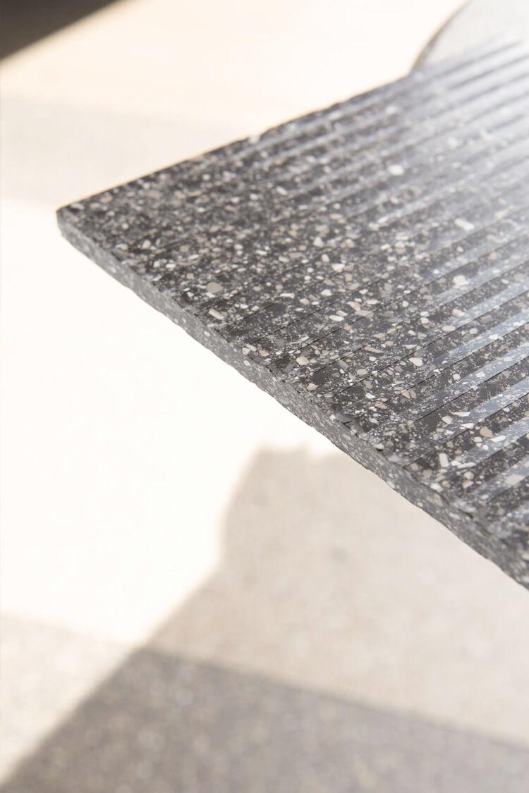 Marble table on beautiful marble floor